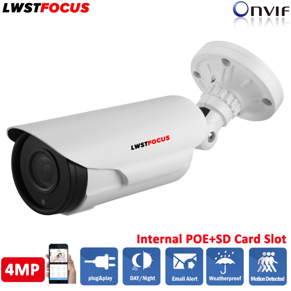 H.265/264 4.0MP Varifocal 2.8-12mm Lens Hi3516D WDR Onvif P2P IR 60M POE SD Card Slot IP Camera Power Over Ethernet FREEIP App h 265 264 ipc lwirdnts400s 4mp ip camera 2 8 12mm varifocal manual zoom lens 4mp ir 30m with sd card slot poe network camera