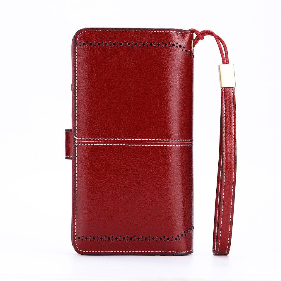 d0299e2de Bolso largo de cuero para mujer, bolso para teléfono móvil, monedero,  cartera para mujer, ...