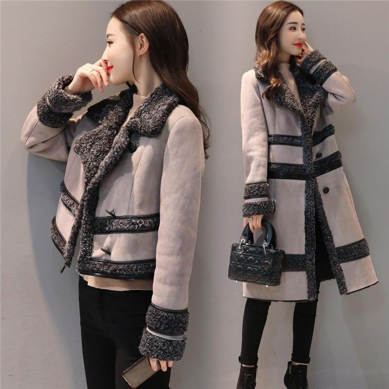 Модная замшевая куртка, Женское пальто, съемная Вельветовая длинная куртка, элегантная тонкая утепленная куртка размера плюс, зимняя куртка с длинным рукавом Q633 - 2