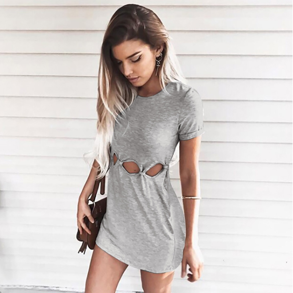 New Dress Women Ladies Casual Solid Color Waist Knotted Hollow Design  Slim Mini Dress relogio feminino