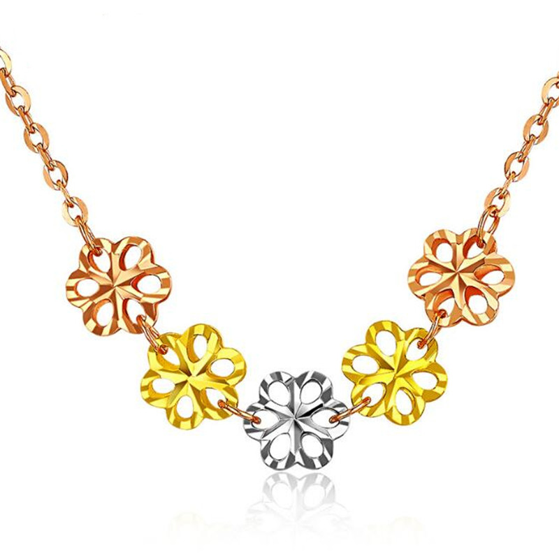 Pure Pendant Necklace 5PCS Hollow Flower Yellow Rose White Gold Pendants Necklaces With 40+3.5 Chain AU750 Gold Women Jewelry цена в Москве и Питере
