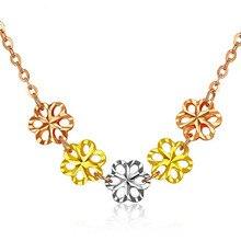 Pure Pendant Necklace 5PCS Hollow Flower Yellow Rose White Gold Pendants Necklaces With 40+3.5 Chain AU750 Gold Women Jewelry pure 24k yellow gold pendant 3d craved hollow heart bracelet pendant 1g