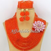 Orange Ladies Jewelry Sets Famous Nigerian Jewelry Set Unique Design Wholesale Free Shipping ABE108