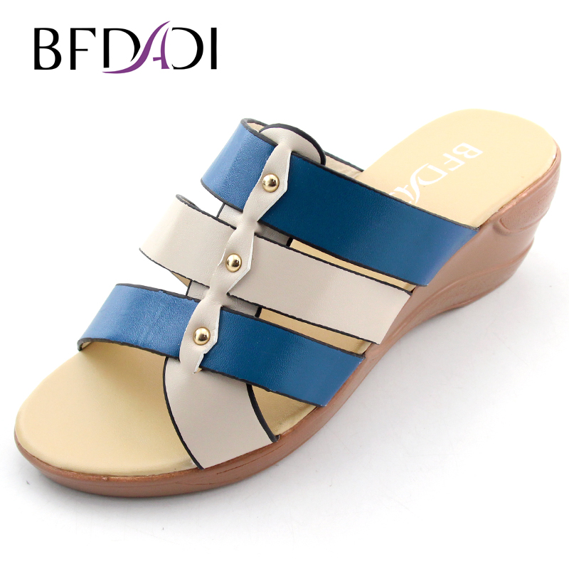BFDADI 2016 Women Fashion Rome sandals Wedges slippers Elegant Splicing Women' Sandals Ladies Gladiator shoes Big size 37-42 D-1