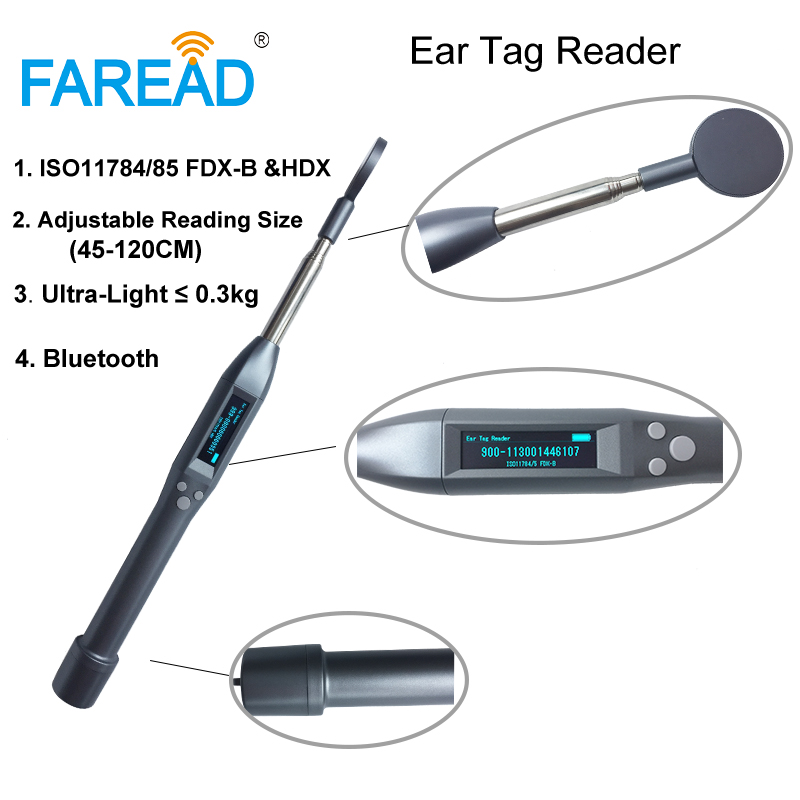 134.2khz ISO11784/5 FDX-B And HDX Ear Tag Reader RFID Long Adjustable Bluetooth Stick Scanner IOS And Android