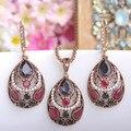 Vintage Women Necklace Earrings Sets Antique Gold Turkish Jewelry Set Blue Acrylic Heart Pendant Colar Long Pendientes Brincos