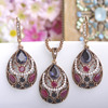 Vintage Women Necklace Earrings Sets Antique Gold Turkish Jewelry Set Blue Acrylic Heart Pendant Colar Long Pendientes Brincos