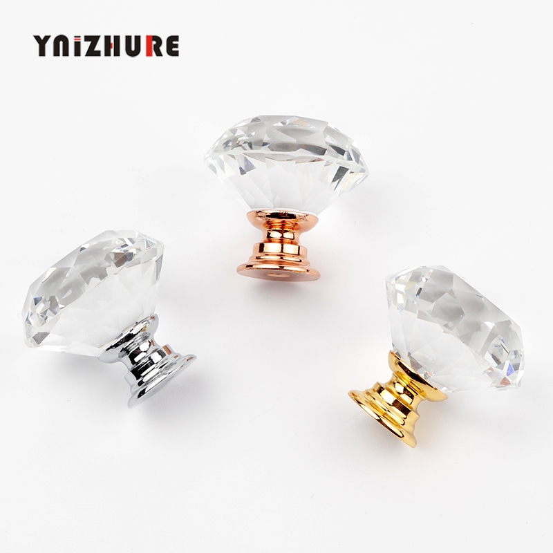 YNIZHURE Brand 30mm Diamond Crystal Glass Knobs Cupboard Pulls Drawer Knobs Kitchen Cabinet Handles Furniture Handle Hardware(China)