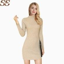 17a8b8c96cf SPARSHINE Women Sweater Dress Sexy Knitted Vestidos Pullovers Fashion Style  Mini Dress Elegant Slim Robe Pull