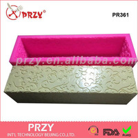 Best Sell All Sides With Flower Loaf Silicone Mold Long Rectangular Silicone Soap Loaf Molds
