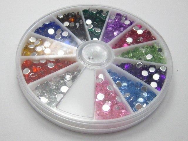 600 Acrylic Nail Art Round Flatback Bead 4mm With Wheel 12 Colour