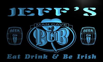 x0118-tm Jeffs Man Cave Irish Pub Custom Personalized Name Neon Sign Wholesale Dropshipping On/Off Switch 7 Colors DHL