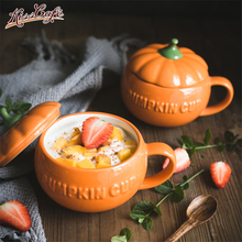 1pc Cute Coffee Mug Ceramic Cup Drinking with Lid Milk Mugs Breakfast Oatmeal Funny Pumpkin Halloween Gift caneca