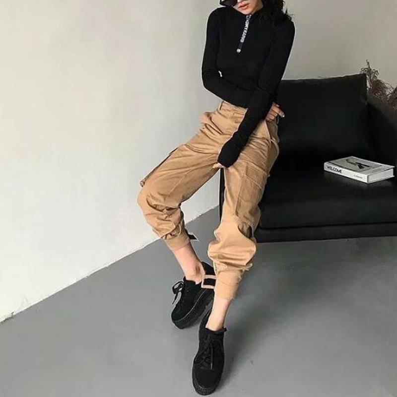 High waist   pants   pockets loose joggers women army harem camo   pants   streetwear punk cargo   pants     capris   trousers korean clothes