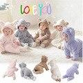 Paquete de Invierno cálido Pies Unisex Mamelucos Del Bebé Del Algodón Ropa de Bebé Recién Nacido