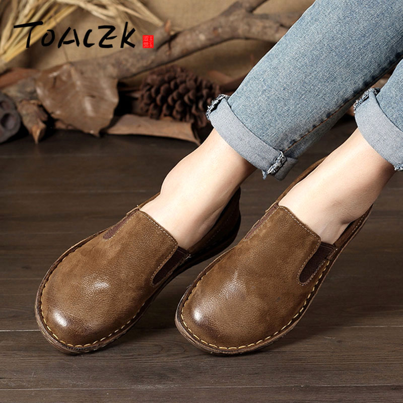 Spring New Single Shoes Leather Handmade Women's Shoes Retro Art Flat Casual Shoes Color Low Shoes Women Size 35-42