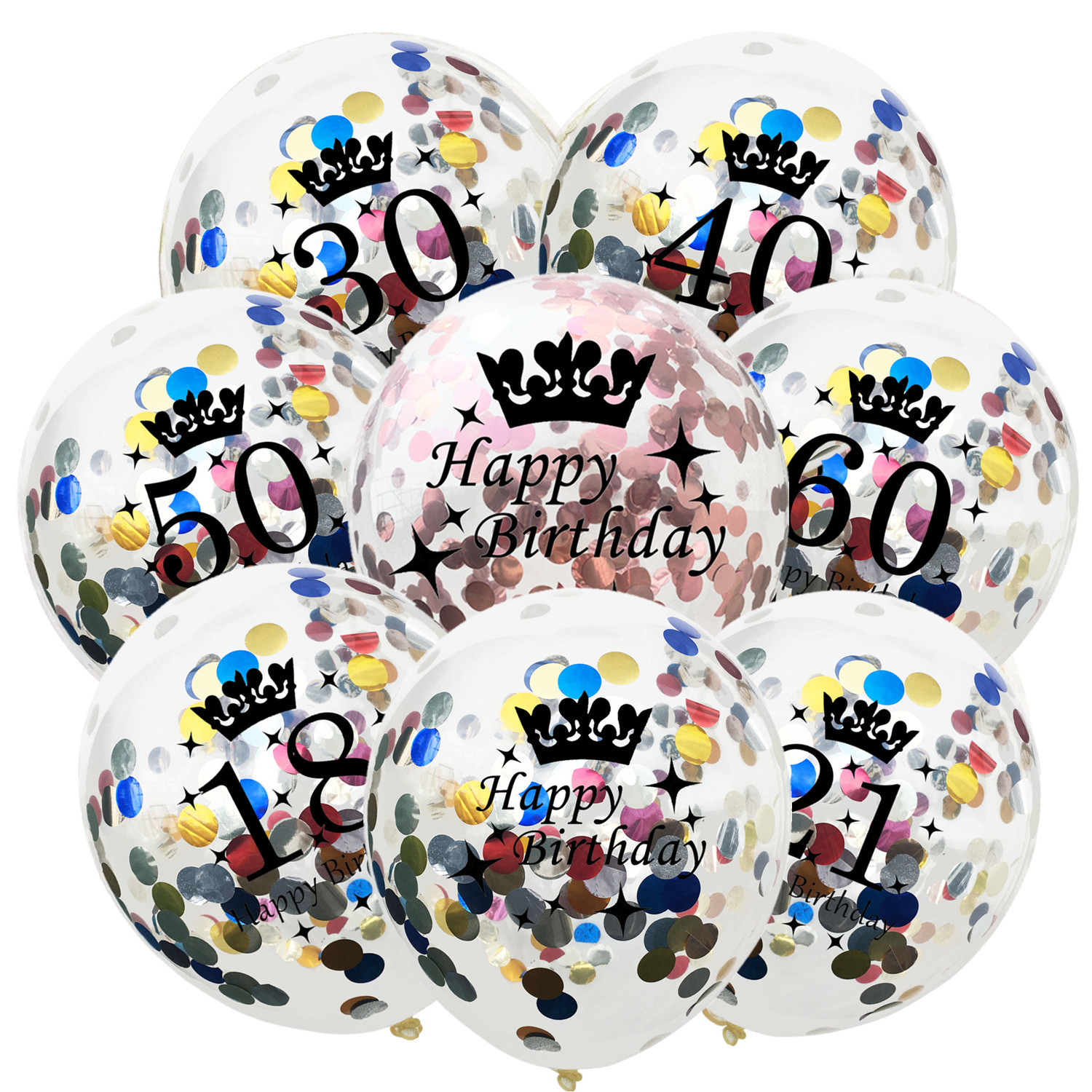 5pcs Multicolor Confetti Clear Latex Balloons 18/21/30/40/<font><b>50</b></font>/60/1st <font><b>Happy</b></font> <font><b>Birthday</b></font> Party Helium Balloon Anniversary Decorations image