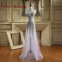 Cintas de Espaguete Vestidos De Baile de Cristal de luxo Strass Tule Ilusão Sereia Longo Vestido de Baile Formal Vestidos de Noite Real Da Amostra