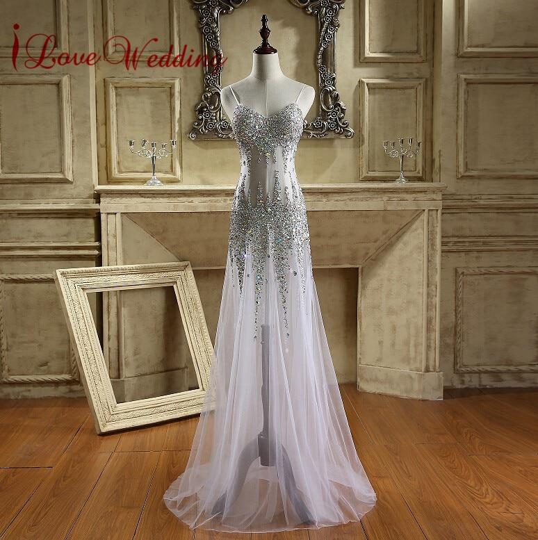 Πολυτελή Σπαγγέτι Φόρεματα Κρυστάλλινα Φορέματα Τούλι Τρίλενα Rhinestones Illusion Γοργόνα Μακρύ φόρεμα Prom
