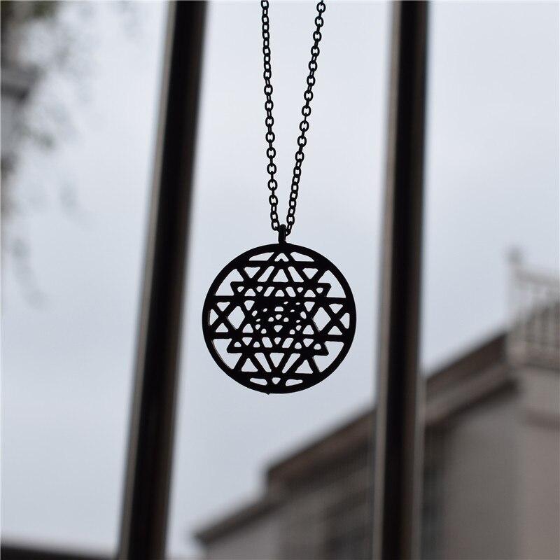 Sri Yantra Meditation Pendants Necklace Large Round 3rd Eye