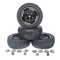 4Pcs Lot 76mm Tires Aluminum Wheel Rims Set Foam Inserts 12mm Hex Drive Hub With M4