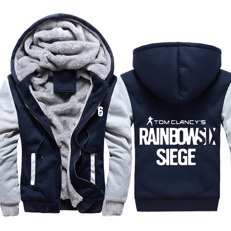 Rainbow Six Siege Camoflauge Hoodie Zip up Jacket Coat Winter Warm Blue or White