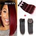Новая Мода 10A Малайзии Переплетается Человеческих Волос С Закрытием 1B Бордовый Ломбер Прямые Волосы С Lace Closure Окрашенных Волос Стиль