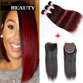 New Fashion 10A Malaysian Weaves Human Hair With Closure 1B Burgundy Ombre Straight Hair With Lace Closure Colored Hair Style