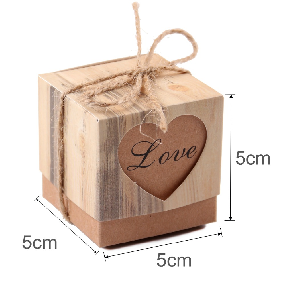 FENGRISE 100pcs Wedding Favors and Gifts for Guests Kraft Paper Candy Box With Rustic Burlap Twine Vintage Wedding Decoration