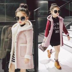 Детская одежда для маленьких девочек коллекция 2018 года, зимнее пальто новое пальто для девочек, утепленное бархатное пальто Модная однотон...