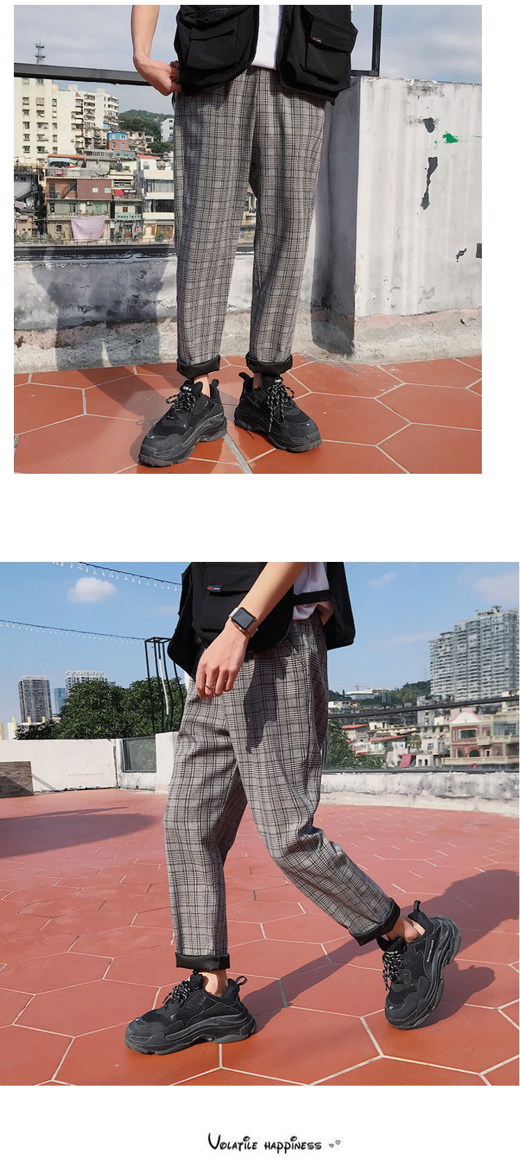 LAPPSTER Streetwear Yellow Plaid Pants Men Joggers 19 Man Casual Straight Harem Pants Men Korean Hip Hop Track Pants Plus Size 23
