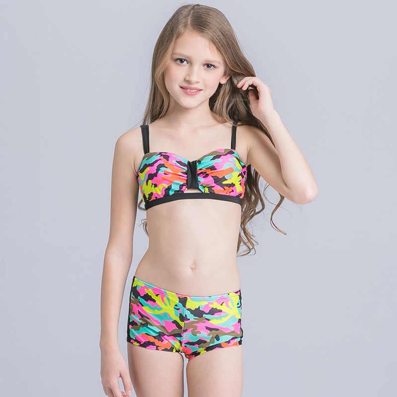 be91f339d6bc 2018 New Girl Camouflage Bikini Swimsuit Child Girl Beach Wear for Teenagers  Girls Bikinis Set Kids