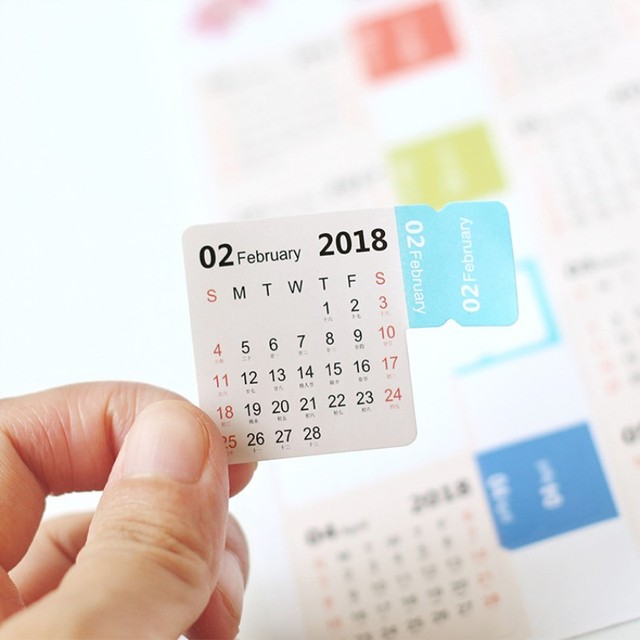 4 pack 2018 Monthly Calendar Index Tabs Stickers/Lable Marker Notes