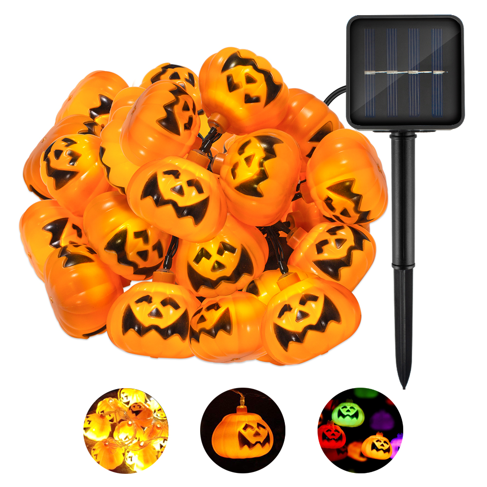 CHIZAO LED Halloween Pumpkin Solar String Lights 3D Lantern Holiday Lighting For Trick and Treat Party Ball Feast Night Decorate halloween party supply insect shape paper lantern hanging decration