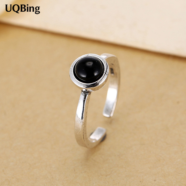 Новые поступления Ретро тайское серебро с черным камнем открытые кольца 925  пробы серебряные кольца для девочки eb3327e599cf6