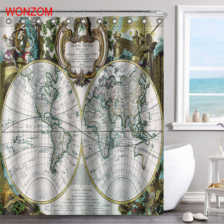 WONZOM Earth And Map Curtains with 12 Hooks For Bathroom Decor Modern Bath Waterproof Curtain 2017 New Bathroom Accessories in Shower Curtains from Home Garden