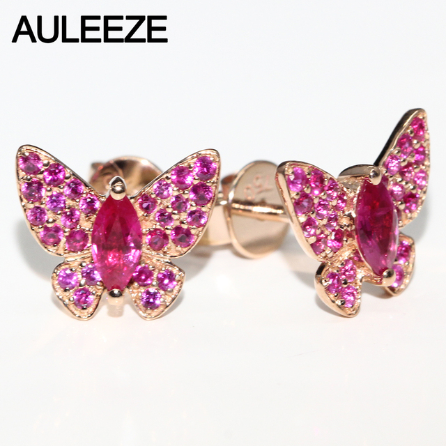Unique Butterfly Design Marquise Cut Natural Ruby Earrings 18K Rose Gold Earrings Real Gemstone Stud Earrings Christmas Gifts