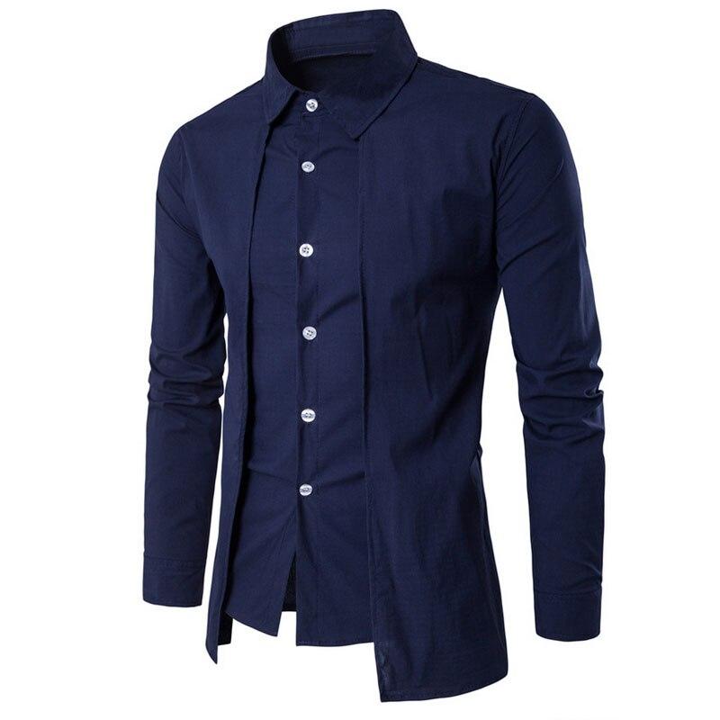 Sonder Slim Men Shirt Long Sleeve New Men Shirt Fight Color Dress Shirt Slim Fit Camisa Masculina Casual Male Shirts 5XL Cool