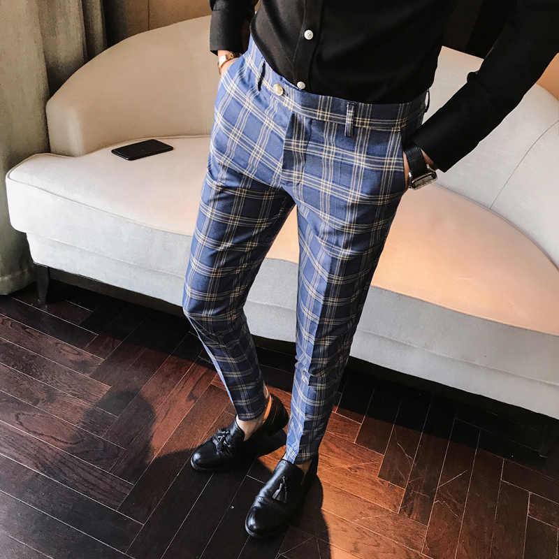 Os homens Se Vestem Calça Xadrez Business Casual Slim Fit calças de Comprimento No Tornozelo Homme Pantalon UM Carreau Clássico de Verificação Do Vintage Calça do Terno de Casamento