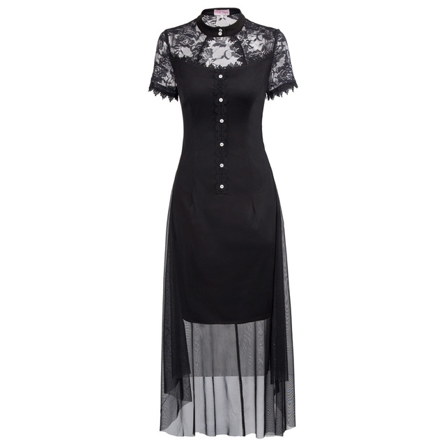 Women robe Vintage Retro Dress 2018 Summer Short Sleeve See-Through Black Tulle Netting Overlay High-Low Gothic Dress vestidos