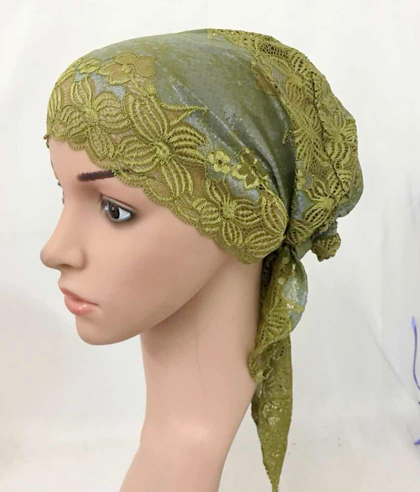 12 PCS Fashion Women Muslim Inner Cap  Lace Flower Hijab Islamic Headwear   Hat Wraps 9