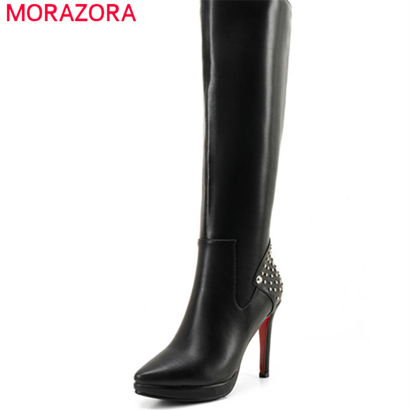 MORAZORA 2018 genuine leather autumn winter shoes woman pointed toe short plush knee high boots platform high heels lady bootsMORAZORA 2018 genuine leather autumn winter shoes woman pointed toe short plush knee high boots platform high heels lady boots
