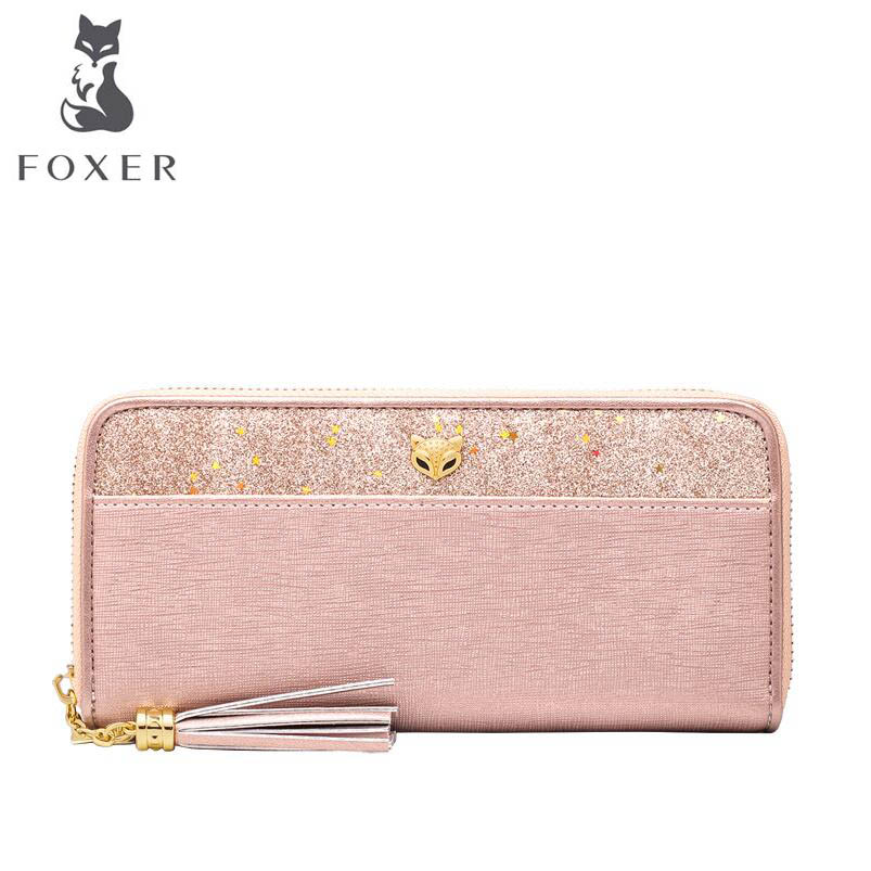 FOXER Bags Womens Long Wallet 2018 new leather clutch bag large capacityFOXER Bags Womens Long Wallet 2018 new leather clutch bag large capacity
