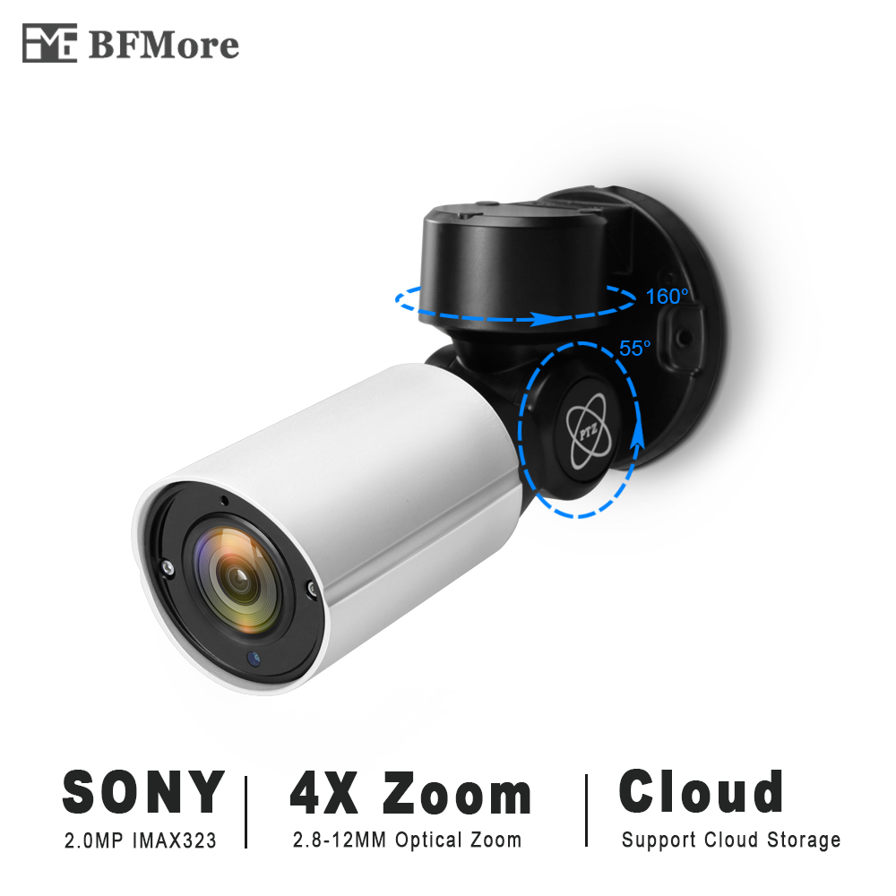 BFMore 2.0MP SONY IMX323 Mini PTZ IP Camera H.265 Cloud Storage Outdoor 4X Optical Zoom P2P CCTV Security Onvif Waterproof IR