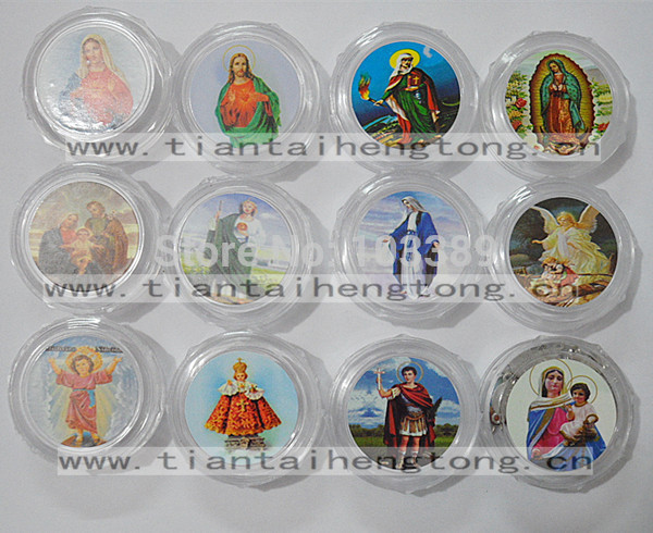 Free Shipping 10pcs/set  Transparent Plastic Rosary Box,round Gift Box With Saint Picture For 7mm Bead Rosary Special Offer