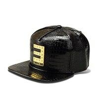 NYUK PU Leather Baseball Cap Metal Letter E Logo Flat Mens Snapback Hats Cool Fashion Rubber