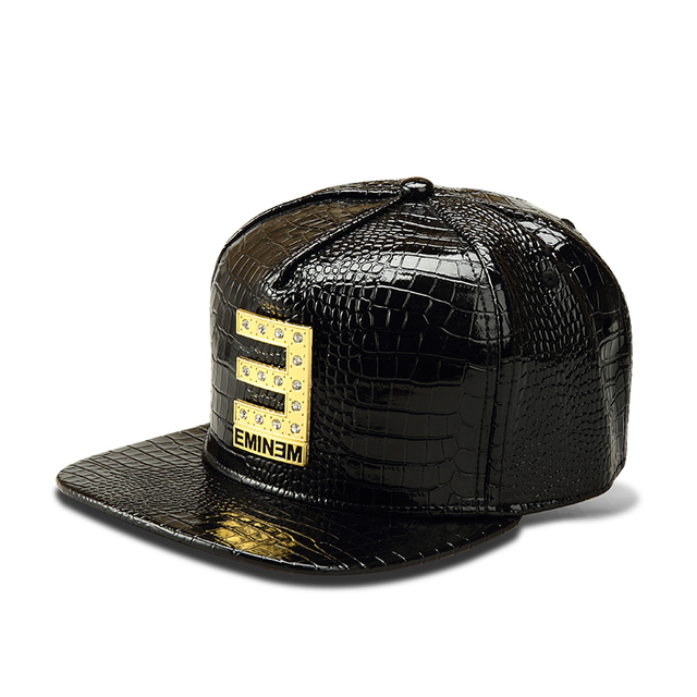 be65e8f6379 NYUK PU Leather Baseball Cap Metal Letter E Logo Flat Mens Snapback Hats  Cool Fashion Rubber Patch Hip Hop For Boys Girls Gift
