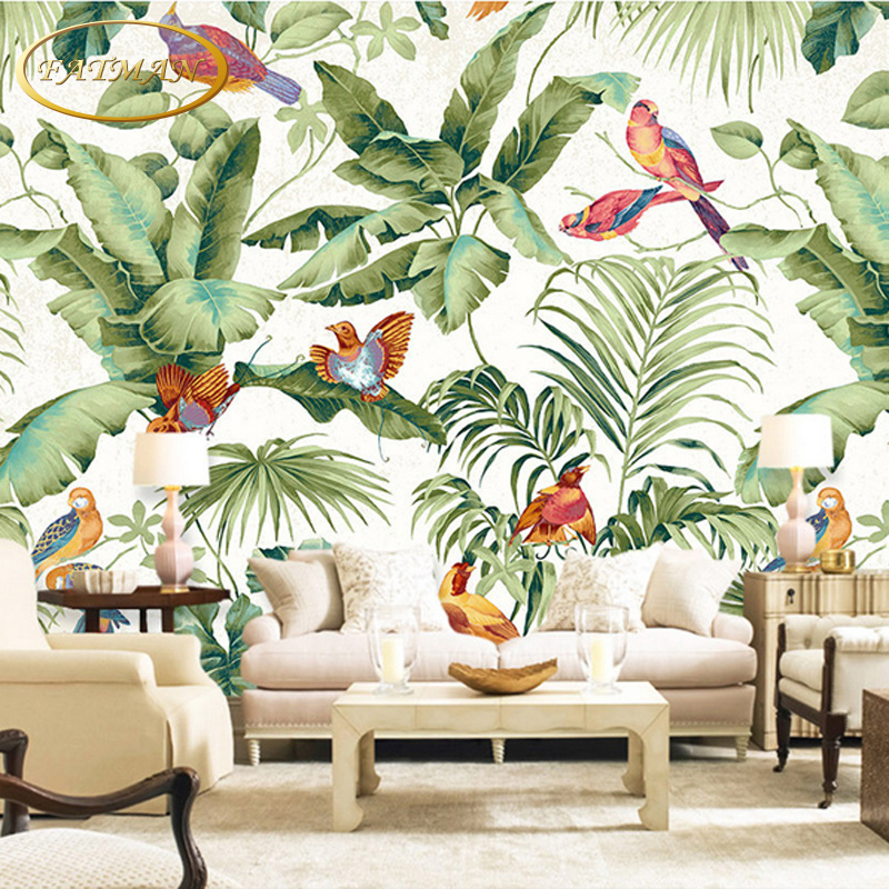 Buy custom 3d photo wallpaper tropical - Flower wallpaper mural ...
