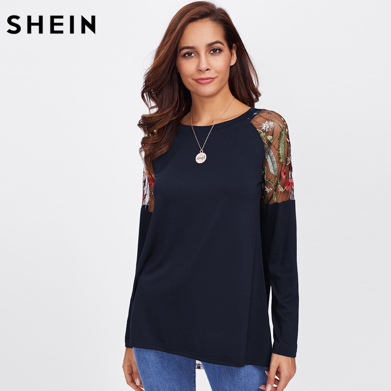 495886cae0 SHEIN Back Knot Raglan Sleeve Asymmetrical T shirt Women Round Neck Long  Sleeve Tops Embroidered Botanical Mesh Insert Tee