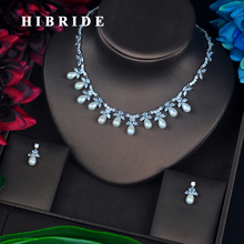 HIBRIDE Luxury Design Fashion Pearl Pendant Earrings Necklace Austrian Crystal White Gold Color Women Bridal Jewelry